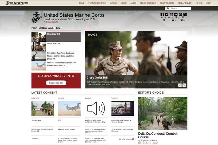 Marines.media Hub Website