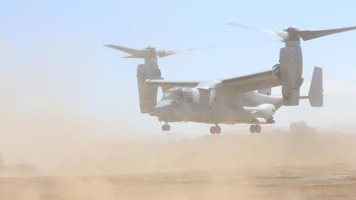 An MV-22B Osprey with Marine Medium Tiltrotor Squadron 161 takes off from a simulated combat zone during a casualty evacuation exercise aboard Marine Corps Base Camp Pendleton, Calif., Aug. 17. Marines with VMM-161 conducted the exercise in support of 5th Battalion, 11th Marines, in order to increase proficiency in conducting CAS EVACS.